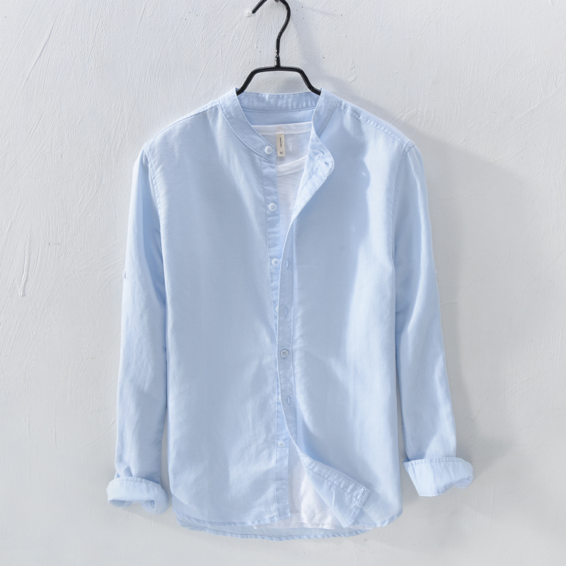 이탈리아 브랜드 Suehaiwe의 패션 긴팔 셔츠 남성 리넨 봄 하늘색 슬림 코튼 셔츠 남성 캐주얼 Camisa masculina Homme