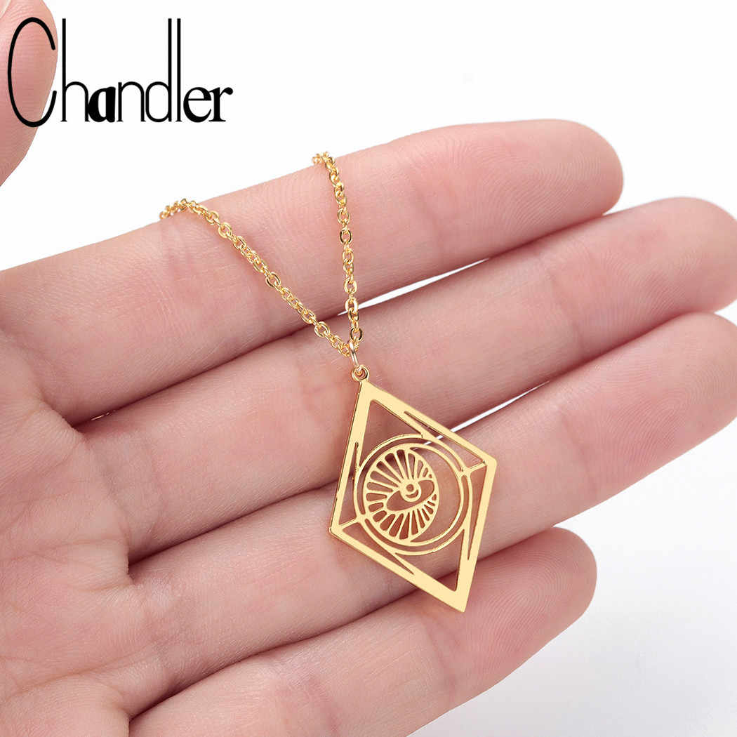 Chandler Unique Stainless Steel Hollow Out Devil Eye Necklace Geometrical Pendant Clavicular Chain Halloween Necklaces Wholesale