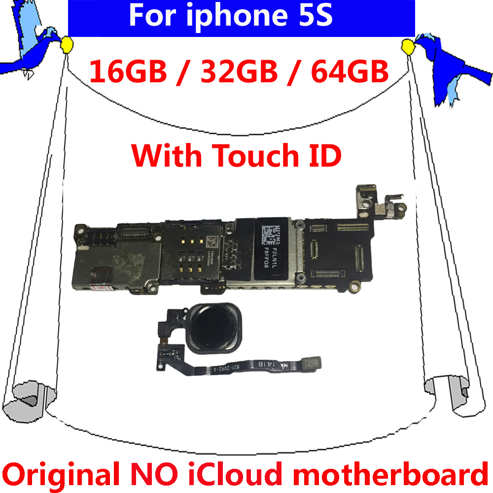 with Black White Gold touch ID motherboard for iphone 5S 5 S original  unlocked mainboard 16gb