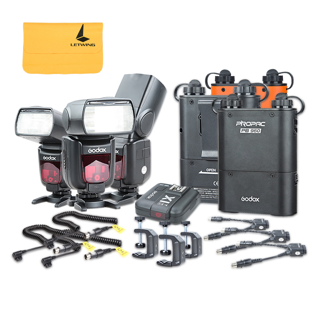 3x Godox TT685N I-TTL Camera Flash + X1N Flash Trigger + PB960 Power Pack + Power Cable + Q-Type Clip Kit for Canon EOS Cameras