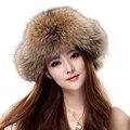 Элитная фокс меховая шапка зимой Ушанка/Казак Бомбардировщик крышка весь мех Енота наушники толстый теплый России hat