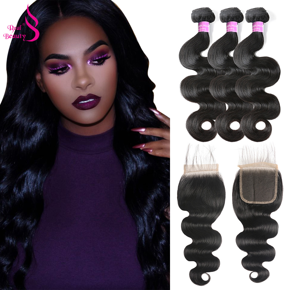 Brazilian Hair Bundles With Closure Body Wave 3 Bundles With Closure Real Beauty Remy Human Hair Bundles With Closure