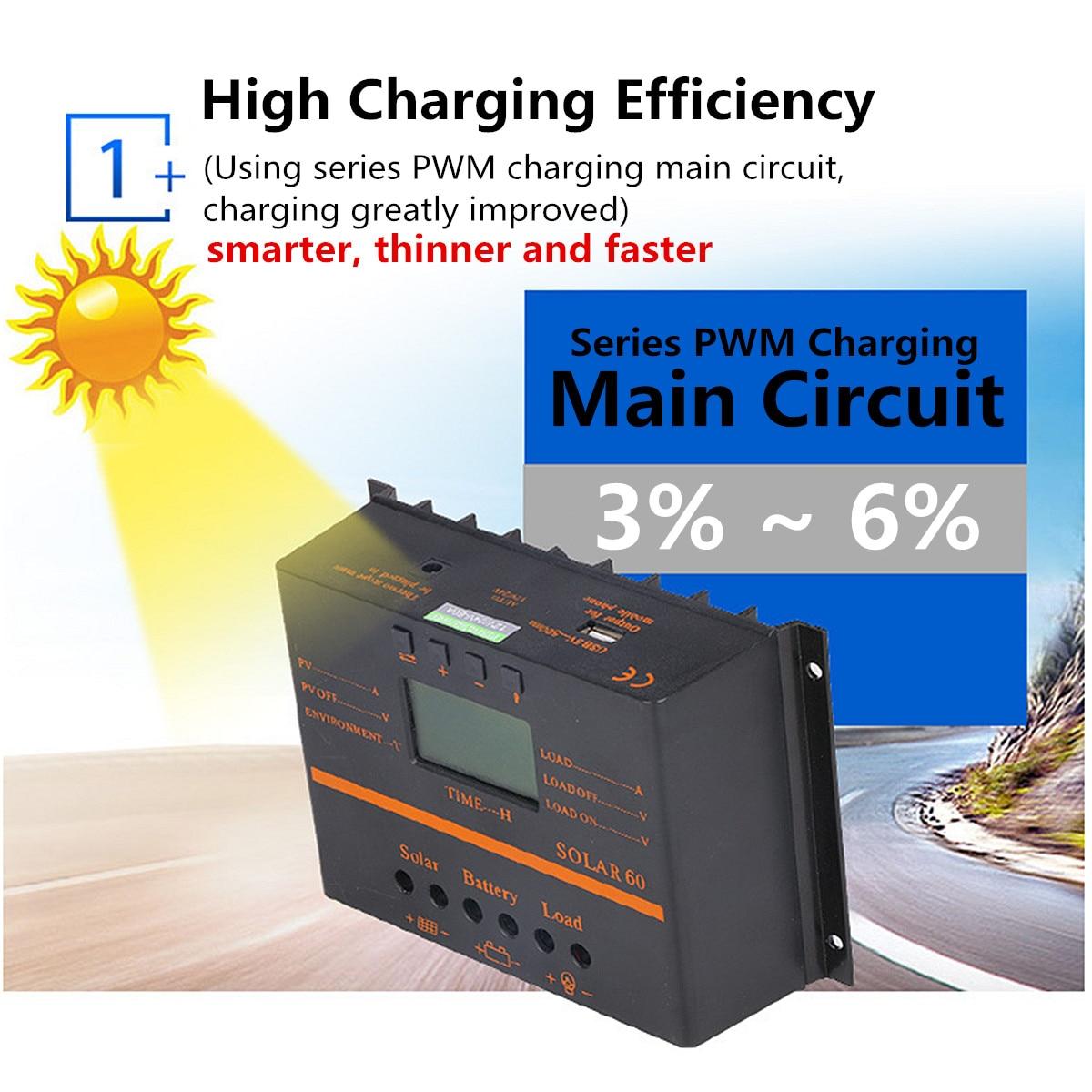 Panneau solaire Charge batterie du contrôleur 12 V/24 V Auto écran lcd PWM Régulateur USB 40A/50A/60A/80A protection de surcharge Automatique