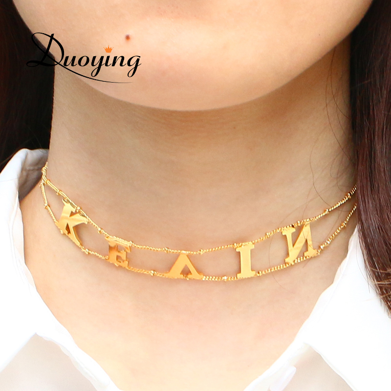 Duoying Capital Letter Choker Necklace Minimalist