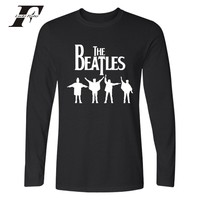 THE BEATLES Spring Long Sleeve Cotton T Shirt Men Black Funny Graphic Tshirts Rock Band Fashion