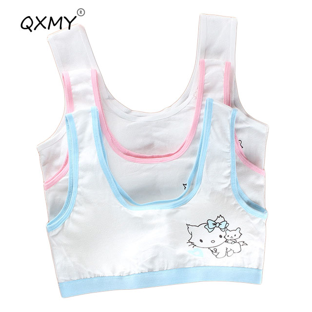 Girls' Clothing Bras Honest Cartoon Cute Bowknot Cat Pattern Cotton Underwear Sets Young Girls Teenager Puberty Students Bra Vest Brassiere Panties In Short Supply
