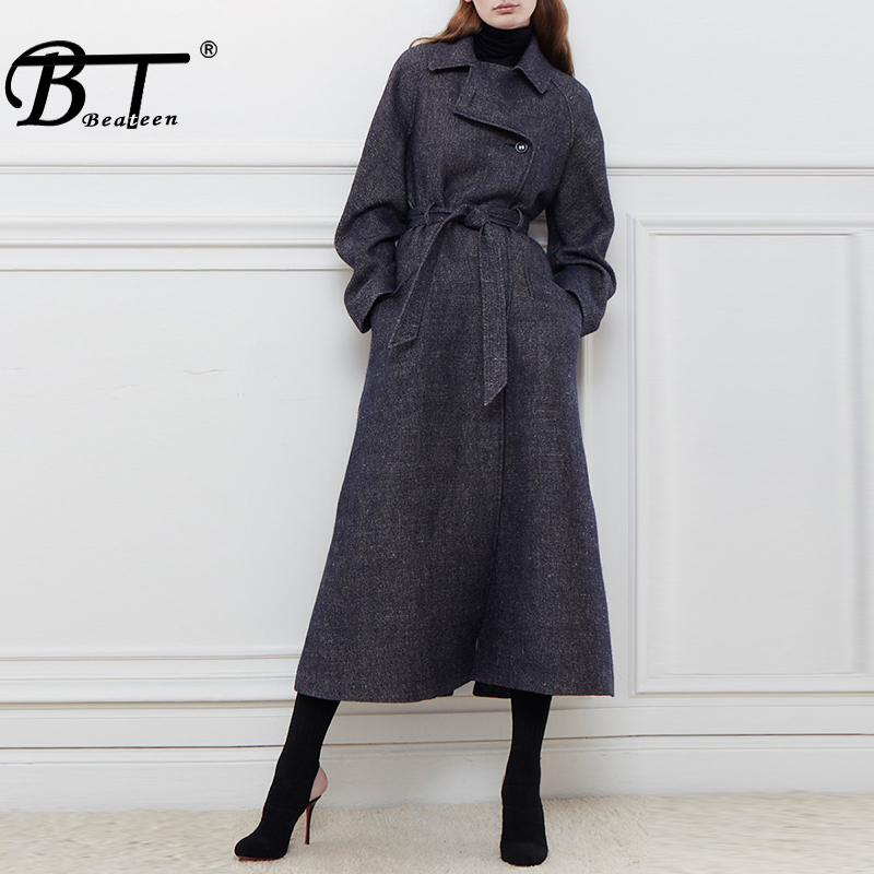 Beateen Streetwear Women Lady Long   Trench   Sexy Full Sleeve Turn Down Collar Fashion Sashes Double Breasted Women Coat 2018