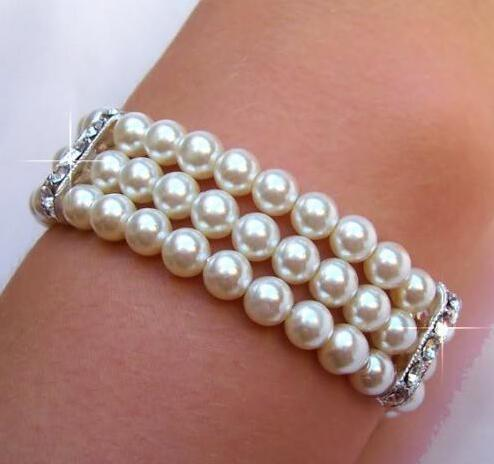 Wholesale price 16new ^^^^lovely 3row 8-9MM white AAA+ natural pearl braceletWholesale price 16new ^^^^lovely 3row 8-9MM white AAA+ natural pearl bracelet