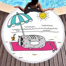 Sandy Cat Parasol Round Beach Towel Cartoon Microfiber For Kids Adults Bath Travel Swimming Yoga Mat Toallas