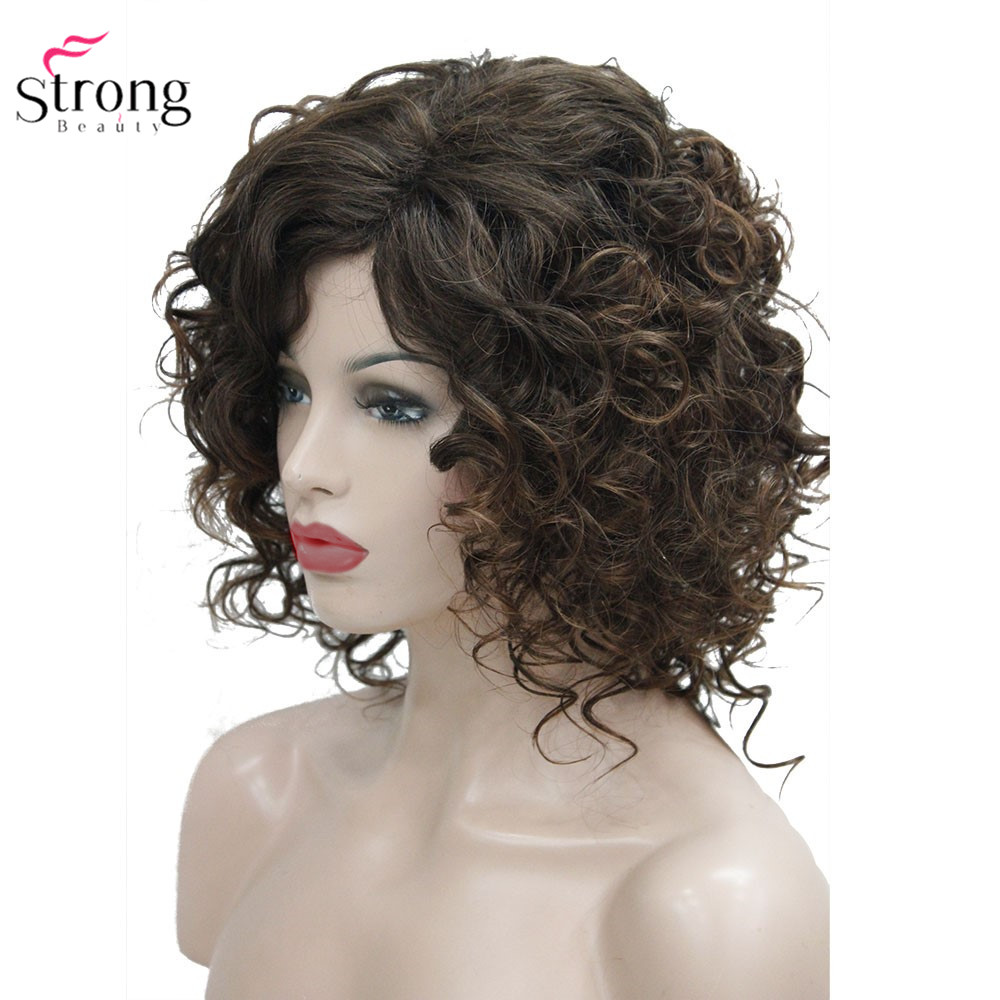 Image 2 - StrongBeauty Medium Curly Wig Hair Brown Women's Synthetic Capless Wigs Natural-in Synthetic None-Lace  Wigs from Hair Extensions & Wigs