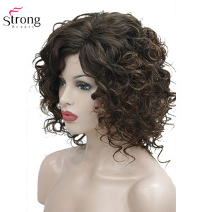 Image 2 - StrongBeauty Medium Curly Wig Hair Brown Womens Synthetic Capless Wigs Natural