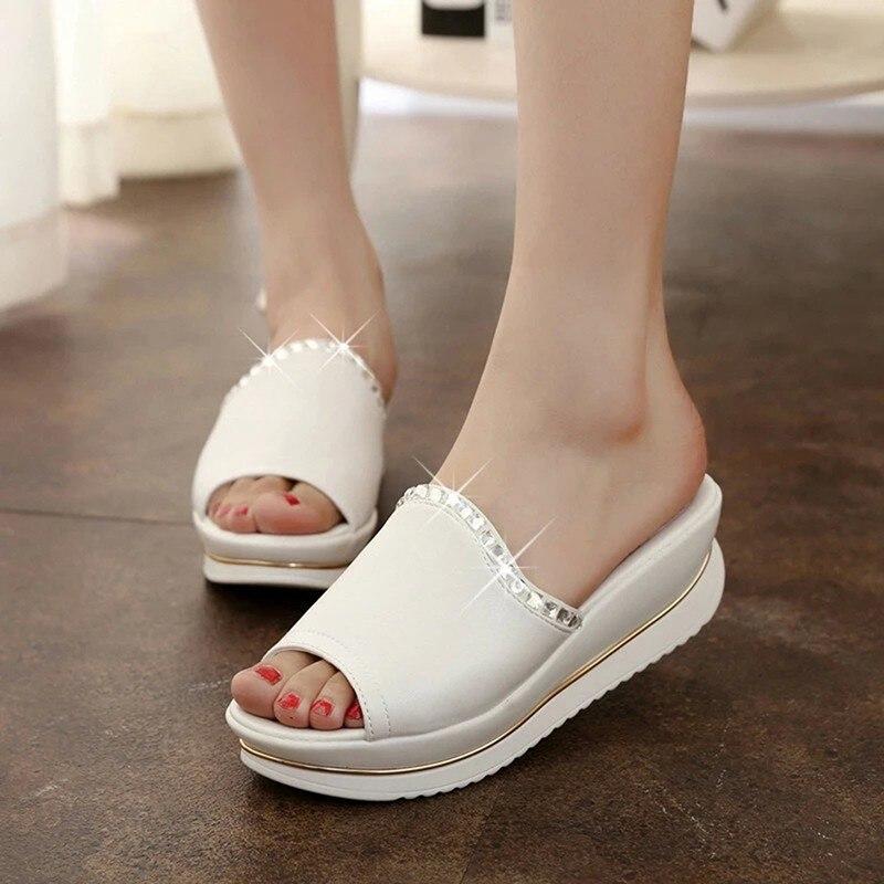 2018 Summer Platform Slippers Women PU Leather Sandals Slides Sandals Shoes Wedges Platform Shoes With Crystal OR864541 цена