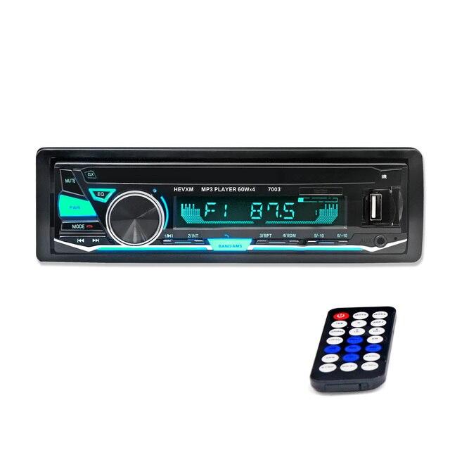 HEVXM 7003 צבע אור MP3 נגן רדיו לרכב MP3 נגן 12 v BT רכב סטריאו אודיו אחד במקף 1 דין Aux קלט