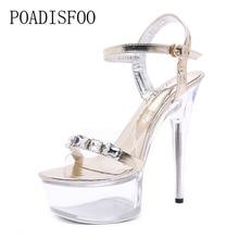 POADISFOO Women sexy high heel shoes 15CM fine waterproof table slippers  transparent crystal LED shoes wedding 7449dd3e21c7