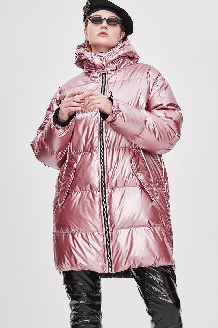 6f5a1d31d JAZZEVAR 2018 Winter New High Fashion Street Womens Edgy Sliver Long Down  Jacket Cool Girls Zipper Hooded Down Coat Outerwear