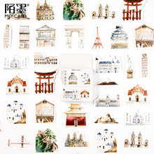 45Pcs/box World architecture history Decoration Sticker DIY Scrapbook Notebook Album Sticker Stationery Kawaii Girl Stickers lovedoki summer foil gold sticker alphabet words date notebook decorative stickers planner accessories scrapbook diy stationery