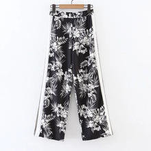 New 2017 Spring Full Length Black White Panelled Women Wide Legging Pants Floral Print Pants High Waist Loose Pants For Female