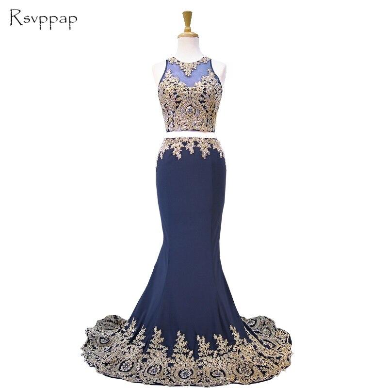 Длинное платье для выпускного вечера, 2019, настоящий образец, Прозрачное платье с глубоким вырезом, Золотое кружевное платье русалка, два пре