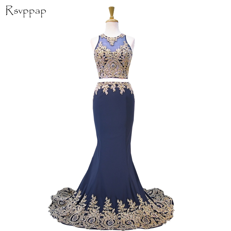 Long Prom Dress 2018 Real Sample Sheer Scoop Neckline Gold Lace