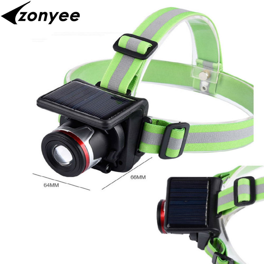 Solar Powered headlamp XPE LED Headlamp Headlight Outdoor Waterproof Sport Zoomable Flashlight Head Light Lamp for Camping
