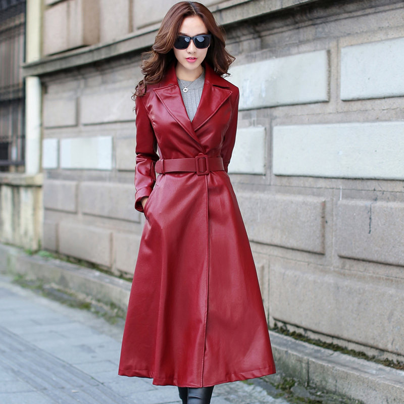 Trench coat leather long dresses