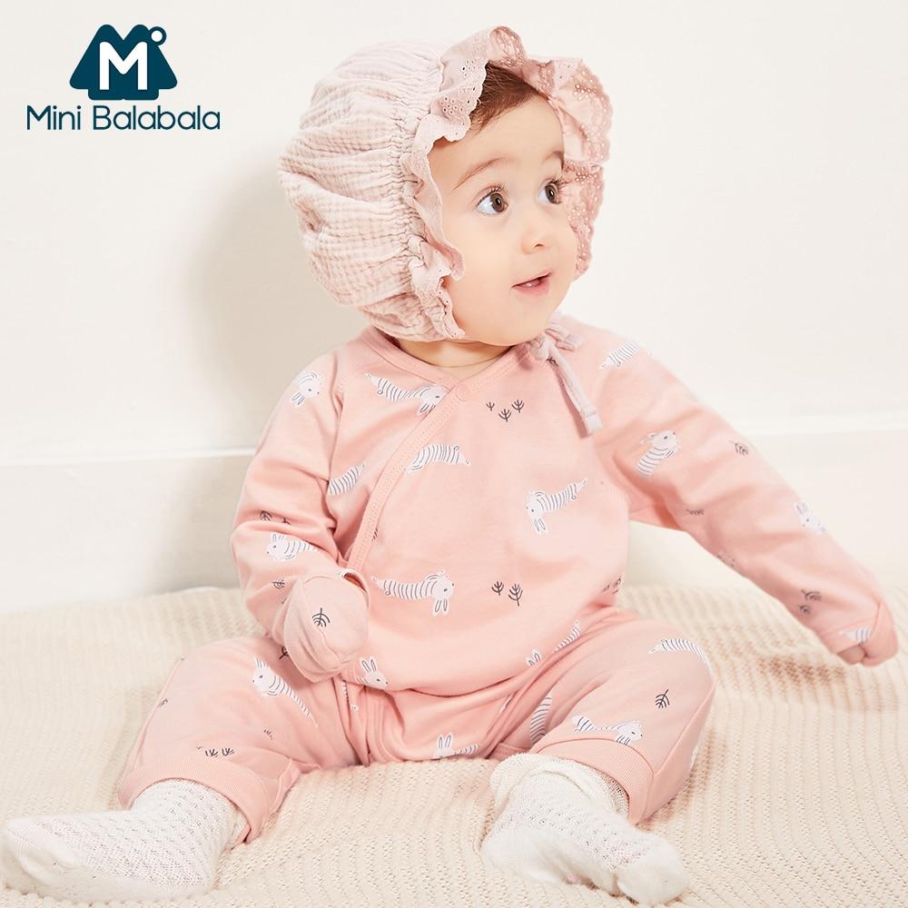 Mini Balabala Baby Romper Long Sleeve 100% Cotton Jumpsuit Pajamas One-Piece Newborn Infant Baby Girls Baby Boys Clothes Printed