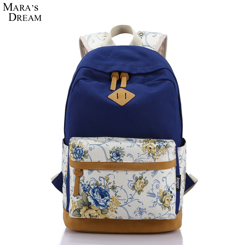 Mara s Dream 2017 Women Backpack Preppy Style Print Flowers Zipper Traveling Canvas Big Capacity Computer