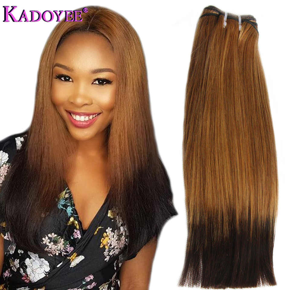 Double Drawn Human Hair Straight Hair Bundles Natural Ombre 27/4 Golden Black Color Sew in weft 3 bundles Remy Hair Extensions