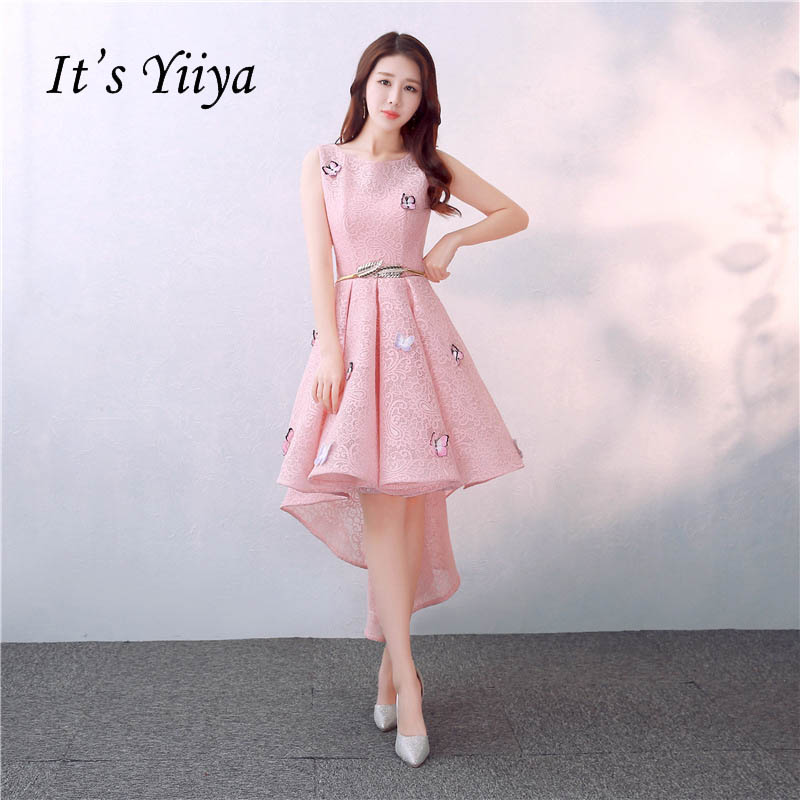 It's YiiYa New Pink Sleeveless Floral Print Lace Cocktail Dress T Length Formal Dress Party Gown LX155