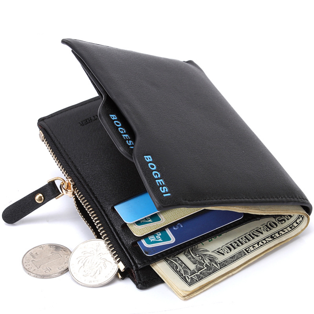 2018 New Fashion Men Pu Leather Bifold Style Short Wallet Male Business Card Holders Boys Functional Coin Money Pocket Purse