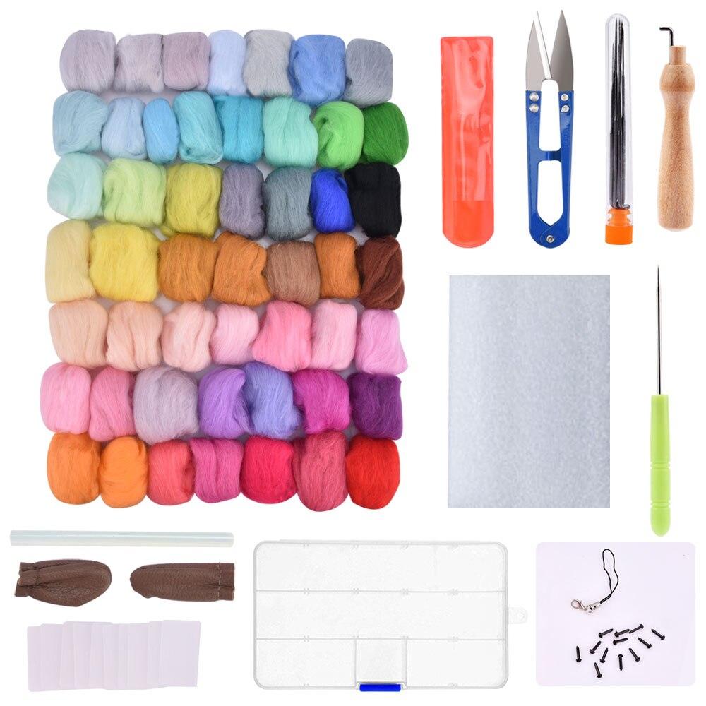 50/36 cores de Feltro de Lã Kit de Ferramentas de Material De Fibra De Lã Feltragem Itinerante com Feltro Da Agulha Conjunto de Fiação de Tecelagem Costura kits de artesanato