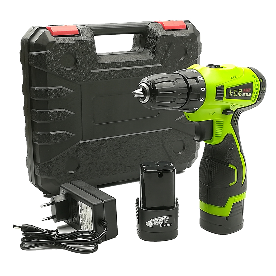 16 8V Double Speed Electric Drill Lithium Battery 2 Cordless Drill Household Electric Screwdriver Plastic Case