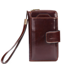 Genuine Leather Men Clutch Purse Wallet Long Removable Card Holder Leather Purse Coin Men's Bag for Phone Women's Clutch Wallet
