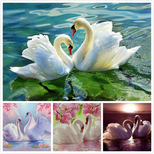 LZAIQIZG Diamond Embroidery Swan Pictures Of Rhinestones Diamond Mosaic Animals Diamond Painting Full Square Drill Wall Decor(China)