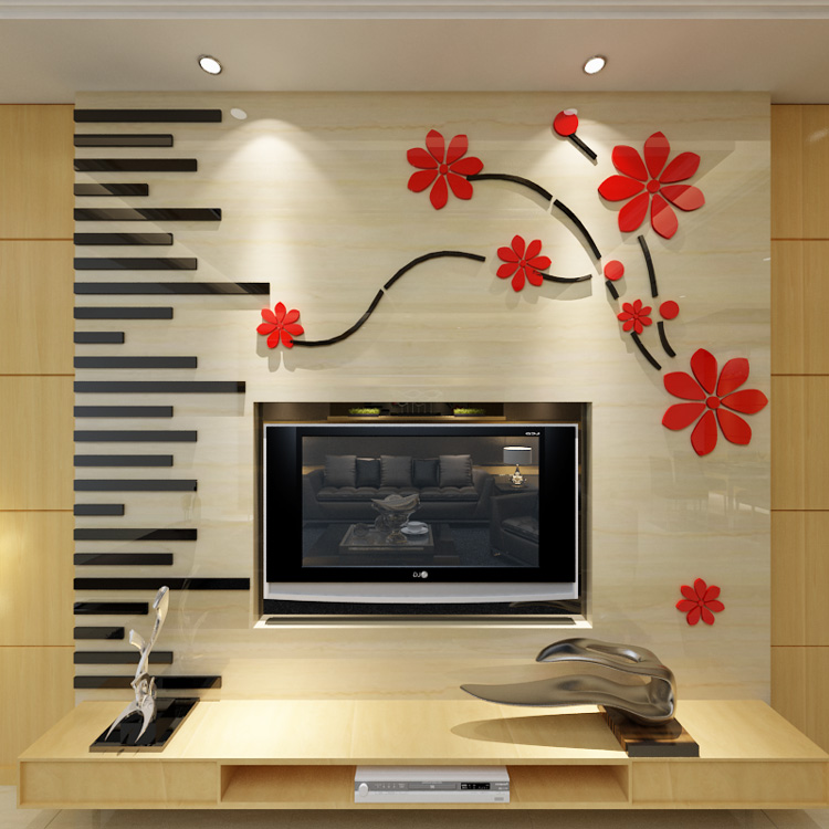 New arrival Cherry blossoms Flying tv backdrop crystal acrylic three-dimensional wall stickers Living room 3D wall stickers