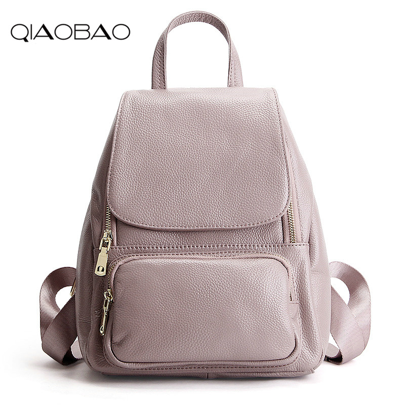 QIAOBAO Fashion 100% Genuine Leather Backpack Women Bags Preppy Style Backpack Girls School Bags Zipper Kanken Leather Back qiaobao qiaobao japan and korean style genuine leather women backpack vintage school backpack for girls brand designer bags best