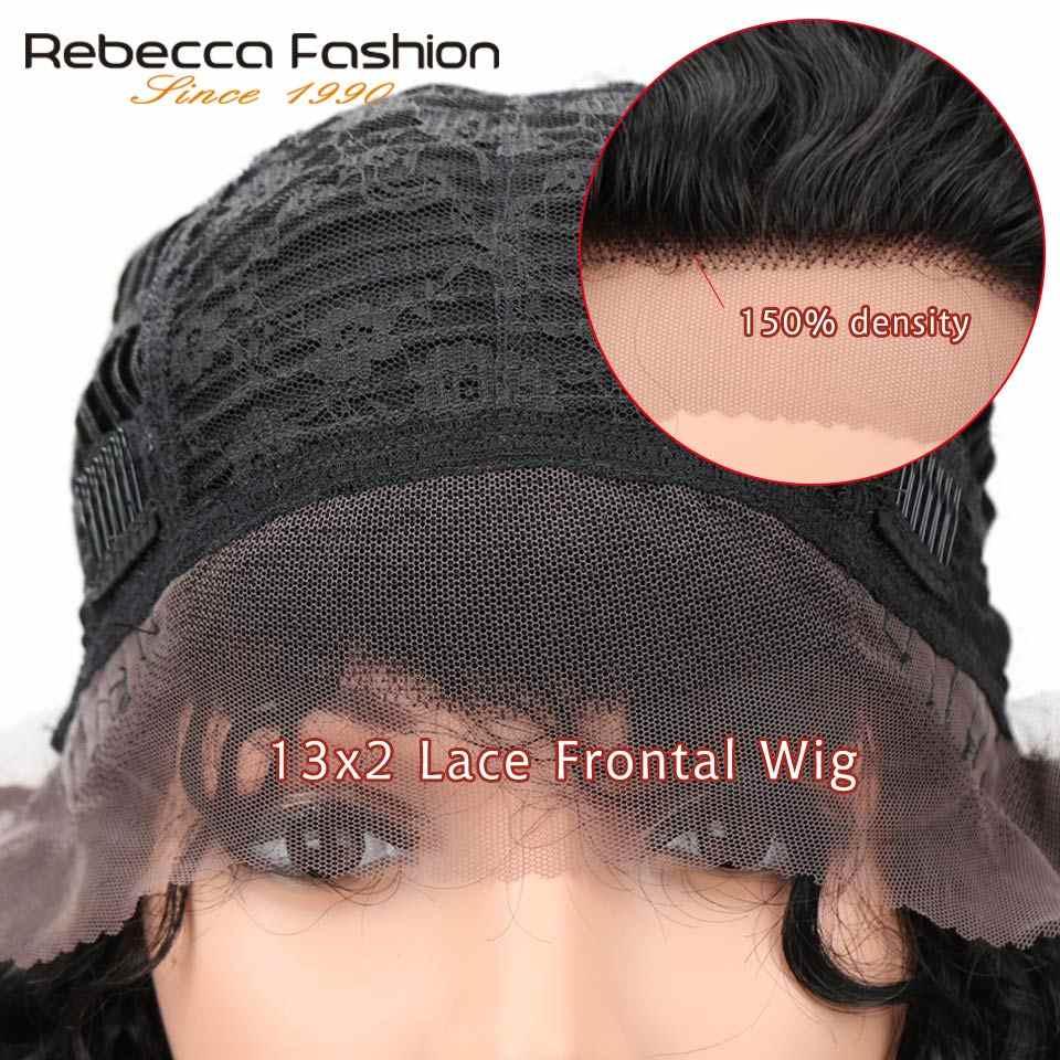 Rebecca Nass Und Wellig Spitze Vorne Menschenhaar Perücken Für Frauen Peruanische Remy Haar Kurze Lockige Bob Perücke 12 Inch farbe #2 Freies Verschiffen