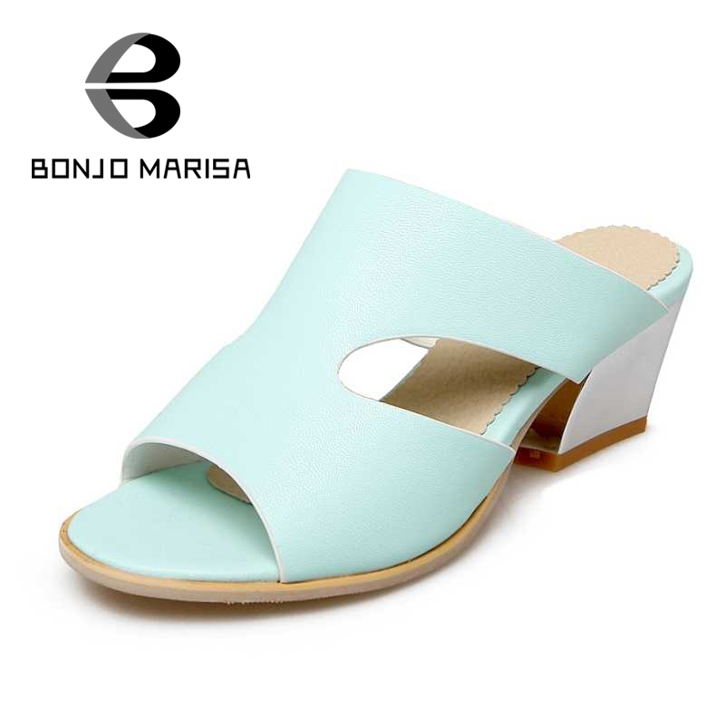 ФОТО BONJOMARISA Big Size 32-45 Open Toes Heel Thick Cutout Summer Office Wedding Sandals Women Shoes Blue White Pink Ladies Footwear