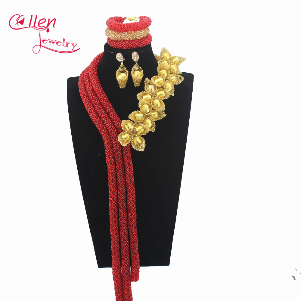 Luxury red African beads jewelry sets india nigerian wedding beads necklace dubai beaded accessories jewelry set E1080