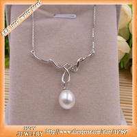 2015 Fashion Quality Sterling Silver Fine Jewelry With Natural Freshwater Pearl Women Jewelry Pendant Necklace