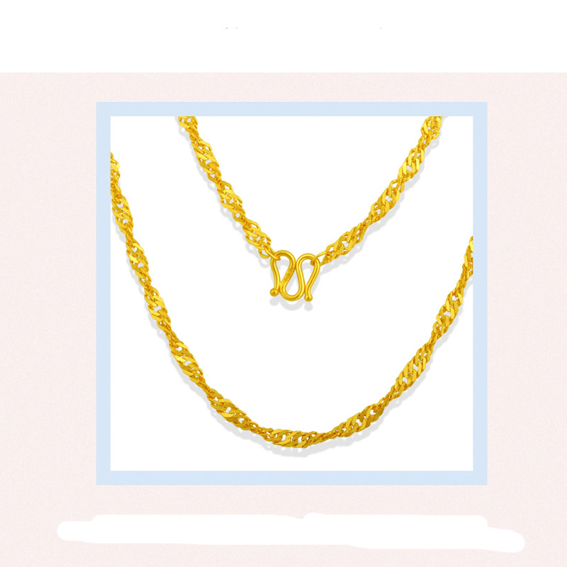 где купить Real Yellow Gold Water Wave Chain Necklace/ 999 gold 24K Necklace Chain 2.8-4.4g дешево