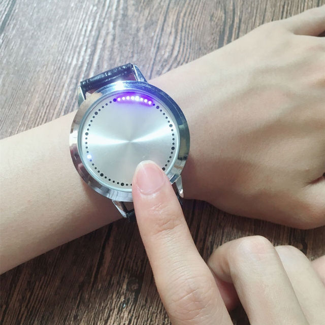 Cool Design Mens Watches Stainless Steel Leather Quartz Touch Screen Smart Elect