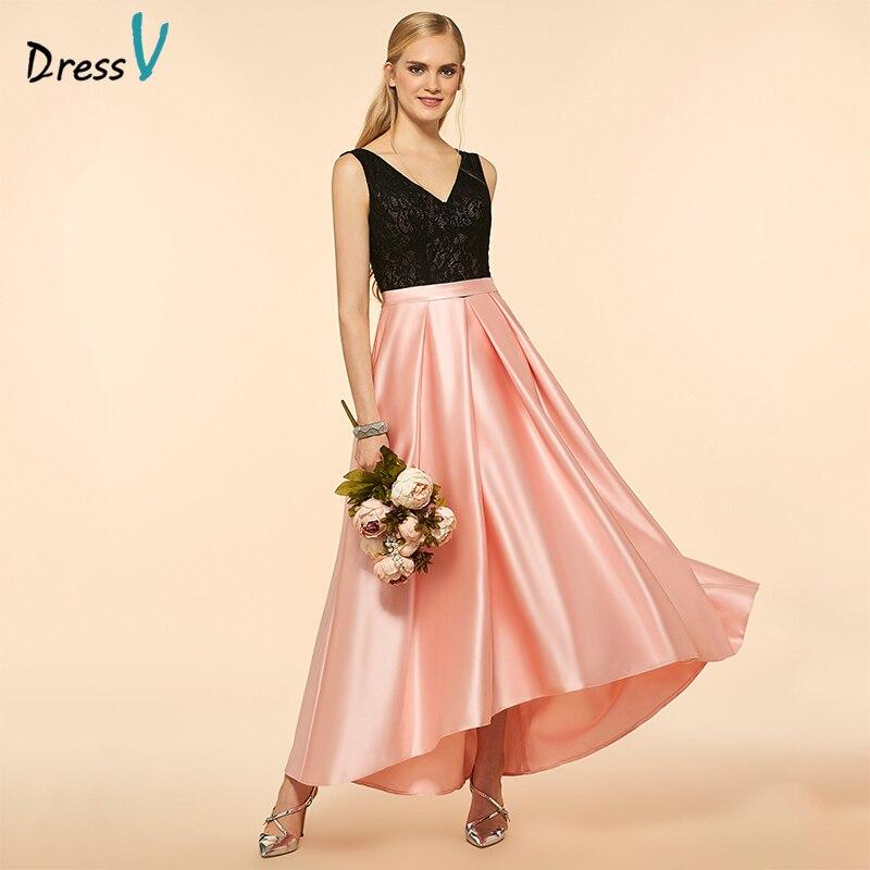 33d63ebd236ea Dressv Pink Bridesmaid Dress V Neck A Line Sleeveless Lace Asymmetry Matte  Satin Custom Wedding Party Dress Bridesmaid Dress-in Bridesmaid Dresses  from ...