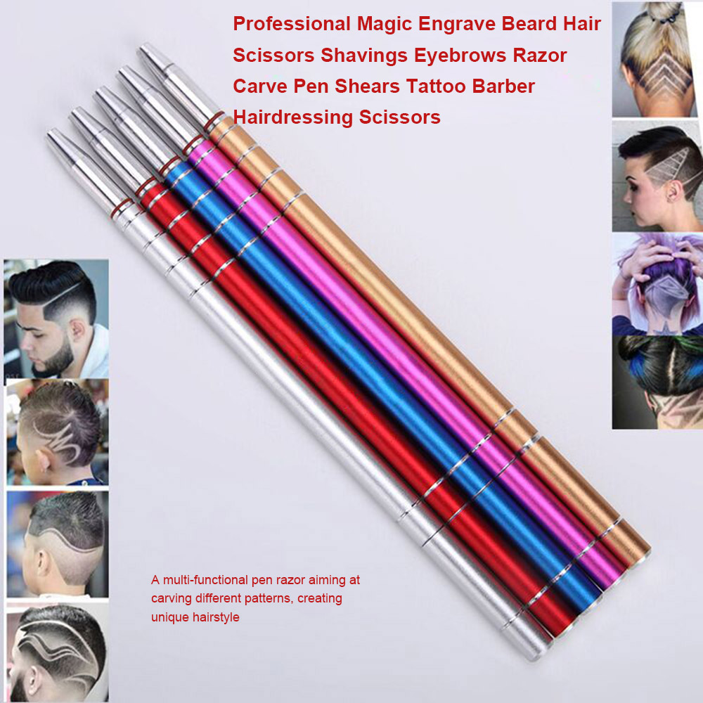 US $3 86 44% OFF|Hair Trimmers magic engrave beard hair scissors Salon  Magic Engraved Stainless Steel Pen Shavings Tweezers Eyebrows Set  Patterns-in