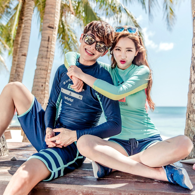 2018 Korean Style Swimsuit Two Pieces long sleeves sunscreen Lovers Beach clothes Beach Sunscreen suit Surf suit
