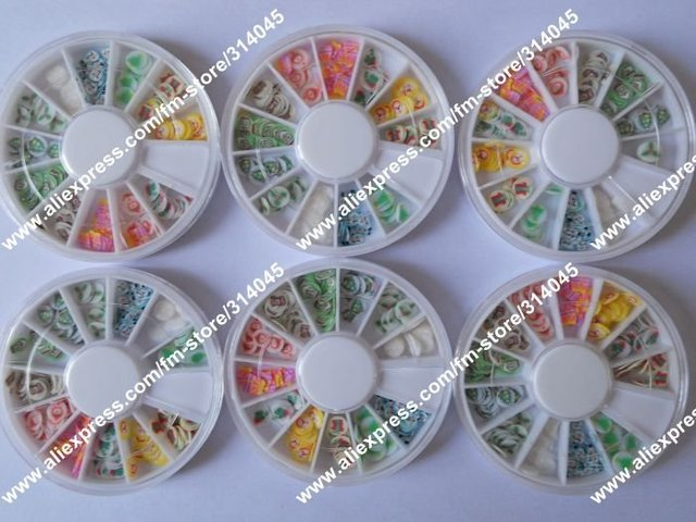 Free Express Marry Christmas Styles Polymer Clay Fruit Cane Nail Art Fruit Sticker Nail Decoration Fruit Canes