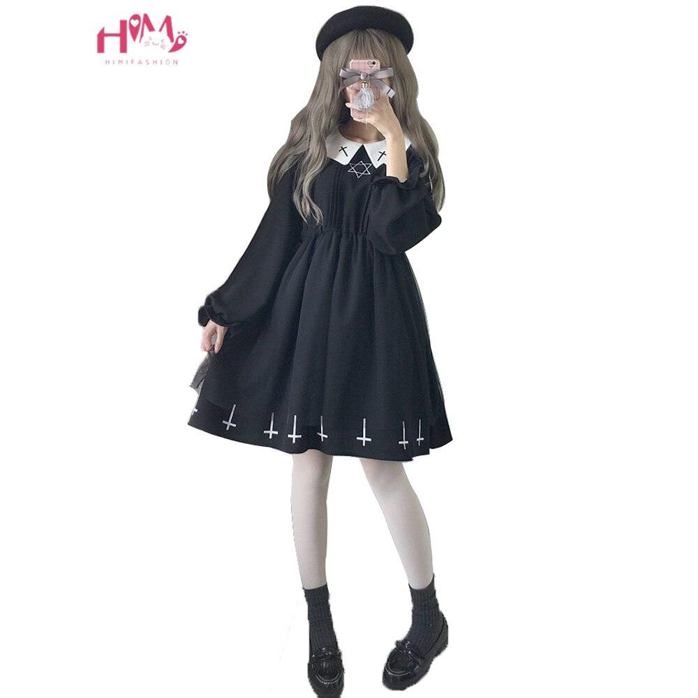 Harajuku уличная мода крест Косплей женское платье японская мягкая сестра Готический стиль звезда тюль платье Лолита милые платья для девочек