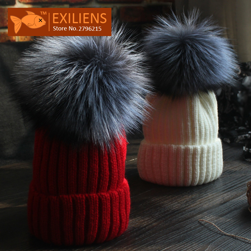 [EXILIENS] Real Fox Fur Gray 12cm Pom pom Wool Winter Hat For Women Warm Knitted Bobble Hats Caps Hip Hop Skull Cap Bonnet MQ002 douglas gray real estate investing for canadians for dummies