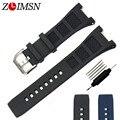 Zlimsn faixas de relógio de borracha de silicone pulseiras de relógio preto ou azul mergulhador cinta com fivela para iwcwatch cinta fivela 30mm iwc330