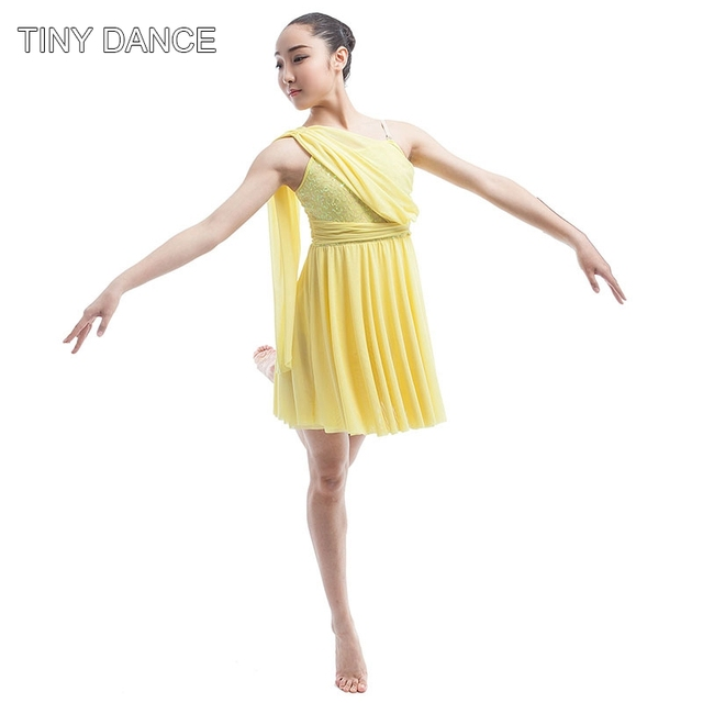 Yellow sequin dress for adult Ballet   Lyrical   Contemporary dance stage  show costume dancing dress adult size S to XXL 16035A d7a1c1b8f75e